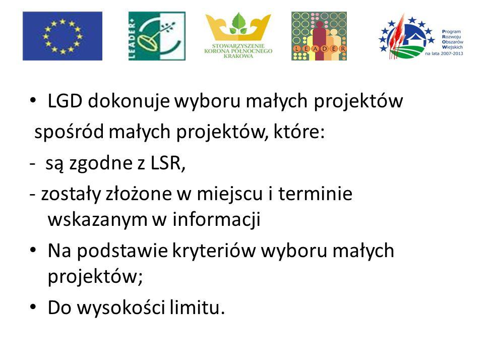 LGD dokonuje wyboru małych projektów spośród małych projektów, które: - są zgodne z LSR, - zostały złożone w miejscu i terminie wskazanym w informacji