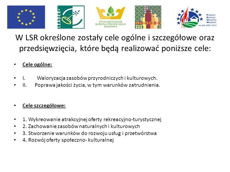 W LSR określone zostały cele ogólne i szczegółowe oraz przedsięwzięcia, które będą realizować poniższe cele: Cele ogólne: I. Waloryzacja zasobów przyr