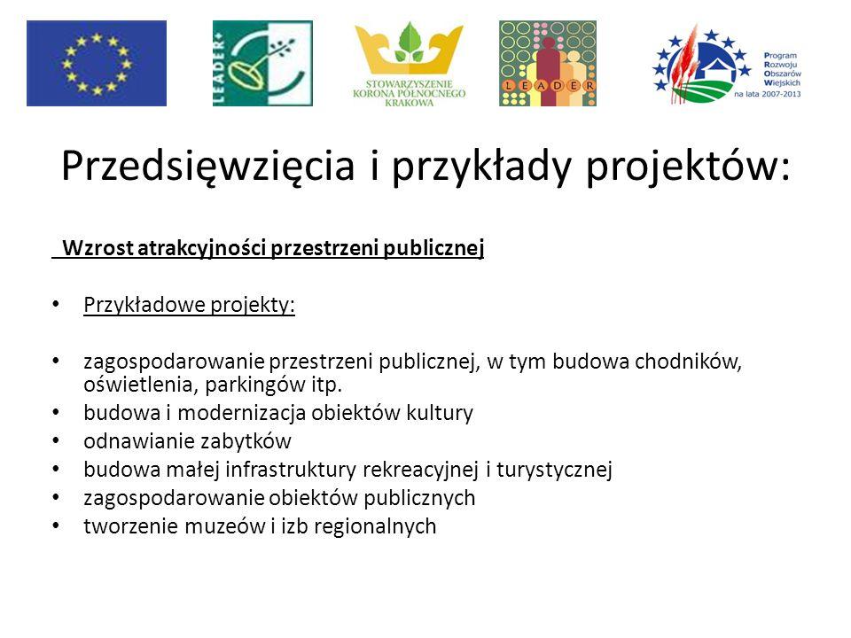 Przedsięwzięcia i przykłady projektów: Wzrost atrakcyjności przestrzeni publicznej Przykładowe projekty: zagospodarowanie przestrzeni publicznej, w tym budowa chodników, oświetlenia, parkingów itp.