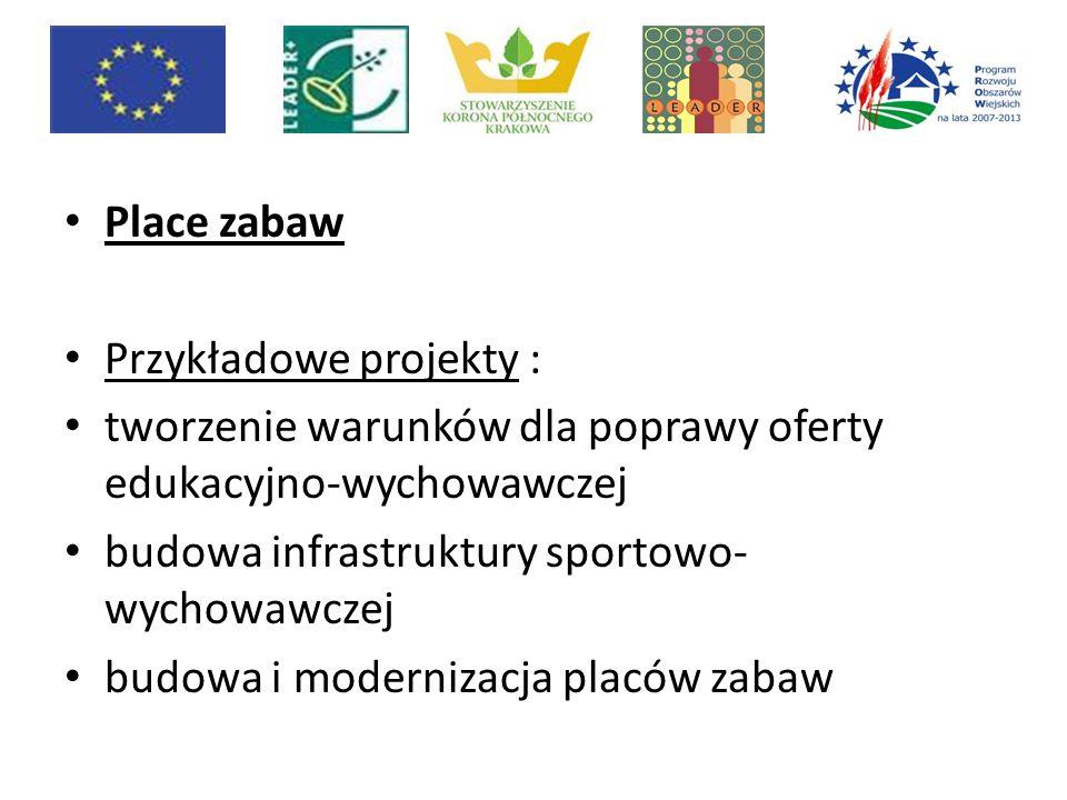 Sieć szlaków Korony Północnego Krakowa Przykładowe projekty: tworzenie nowych i modernizacja istniejących gospodarstw agroturystycznych utworzenie nowych lub modernizacja istniejących przedsiębiorstw świadczących usługi turystyczne budowa lub modernizacja obiektów publicznych służących rozwojowi turystyki; zakup takich obiektów np.