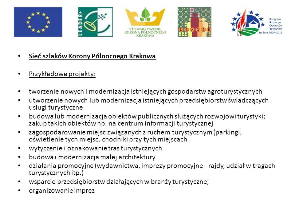 Sieć szlaków Korony Północnego Krakowa Przykładowe projekty: tworzenie nowych i modernizacja istniejących gospodarstw agroturystycznych utworzenie now