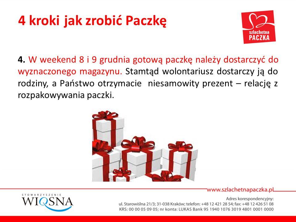 4. W weekend 8 i 9 grudnia gotową paczkę należy dostarczyć do wyznaczonego magazynu. Stamtąd wolontariusz dostarczy ją do rodziny, a Państwo otrzymaci