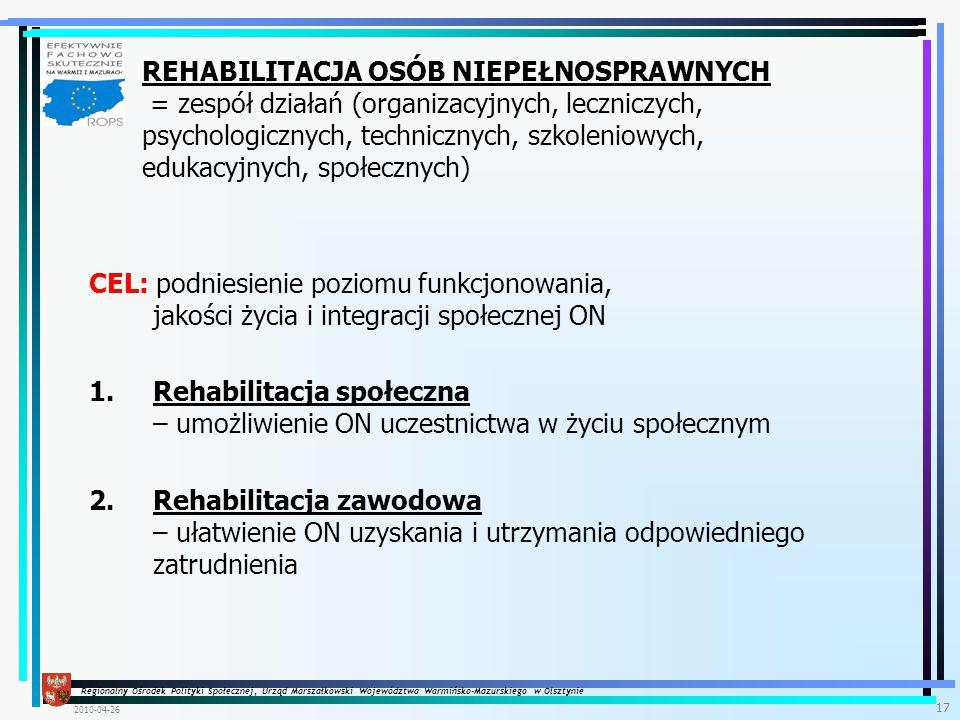 Regionalny Ośrodek Polityki Społecznej, Urząd Marszałkowski Województwa Warmińsko-Mazurskiego w Olsztynie 2010-04-26 17 CEL: podniesienie poziomu funkcjonowania, jakości życia i integracji społecznej ON 1.Rehabilitacja społeczna – umożliwienie ON uczestnictwa w życiu społecznym 2.