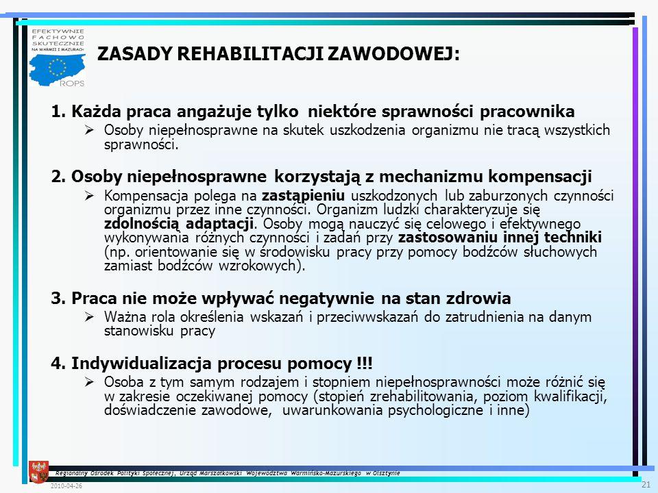 Regionalny Ośrodek Polityki Społecznej, Urząd Marszałkowski Województwa Warmińsko-Mazurskiego w Olsztynie 2010-04-26 21 1.