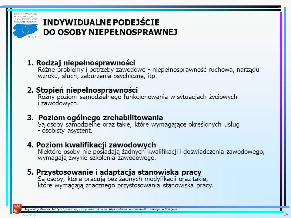 Regionalny Ośrodek Polityki Społecznej, Urząd Marszałkowski Województwa Warmińsko-Mazurskiego w Olsztynie 2010-04-26 24 1.