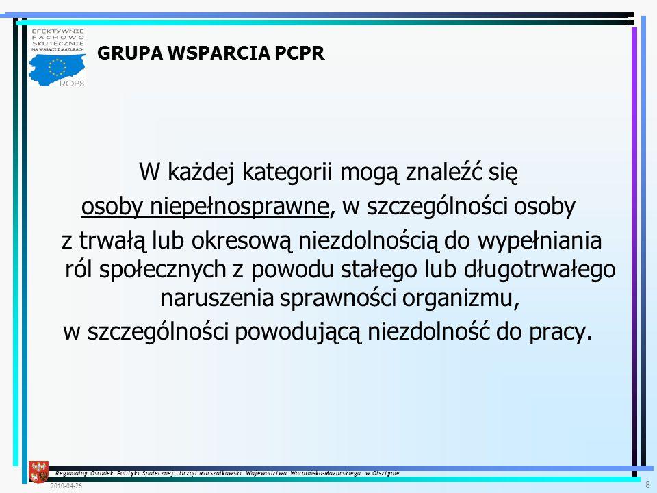 Regionalny Ośrodek Polityki Społecznej, Urząd Marszałkowski Województwa Warmińsko-Mazurskiego w Olsztynie 2010-04-26 9 Projekt systemowy w Poddziałaniu 7.1.2 Projekt Systemowy Rozwój form aktywnej integracji Rozwój i upowszechnianie pracy socjalnej Kontrakt socjalny Programy aktywności lokalnej Program integracji społecznej i zawodowej osób niepełnosprawnych Praca socjalna Doradca ds.