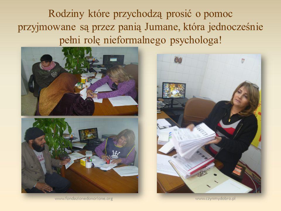 www.fondazionedonorione.org www.czynmydobro.pl Rodziny które przychodzą prosić o pomoc przyjmowane są przez panią Jumane, która jednocześnie pełni rolę nieformalnego psychologa!