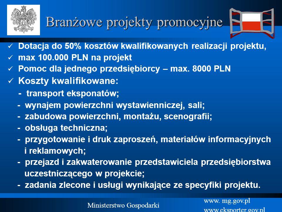 www. mg.gov.pl www.eksporter.gov.pl Ministerstwo Gospodarki Branżowe projekty promocyjne Dotacja do 50% kosztów kwalifikowanych realizacji projektu, m