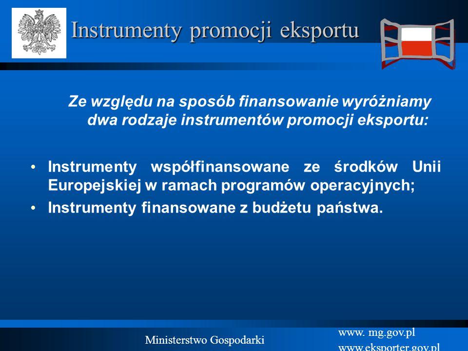www. mg.gov.pl www.eksporter.gov.pl Ministerstwo Gospodarki Instrumenty promocji eksportu Ze względu na sposób finansowanie wyróżniamy dwa rodzaje ins