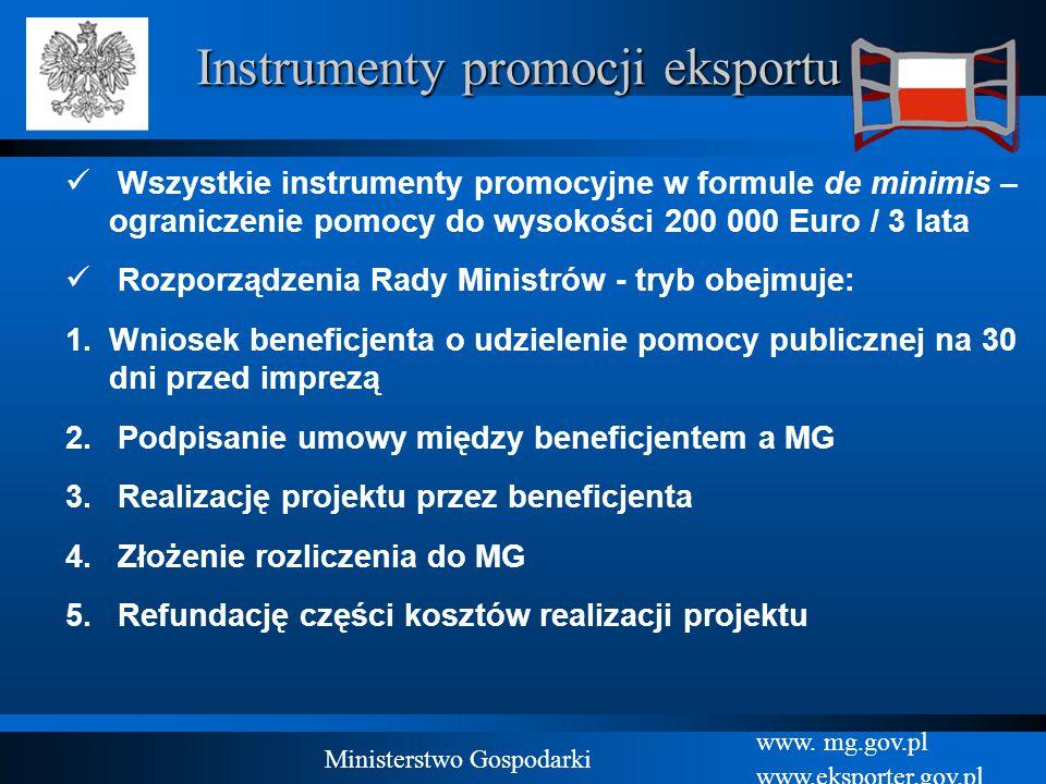 www. mg.gov.pl www.eksporter.gov.pl Ministerstwo Gospodarki Instrumenty promocji eksportu Wszystkie instrumenty promocyjne w formule de minimis – ogra