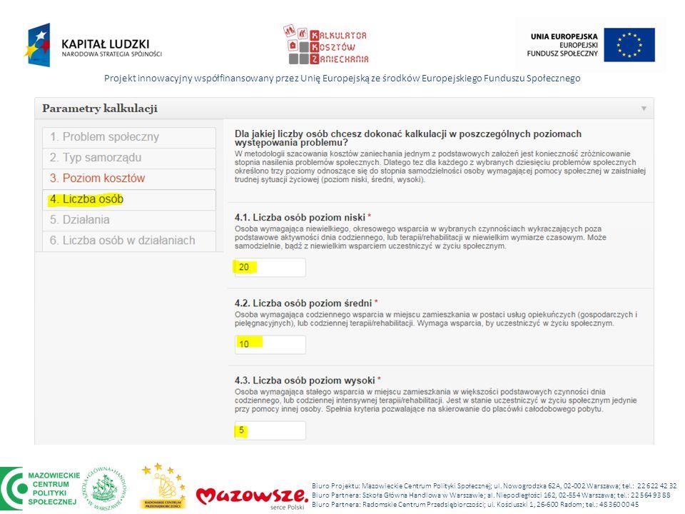 Projekt innowacyjny współfinansowany przez Unię Europejską ze środków Europejskiego Funduszu Społecznego Biuro Projektu: Mazowieckie Centrum Polityki