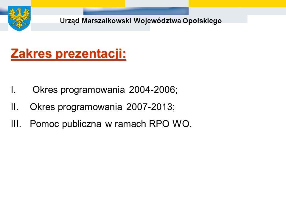 Urząd Marszałkowski Województwa Opolskiego Zakres prezentacji: I.