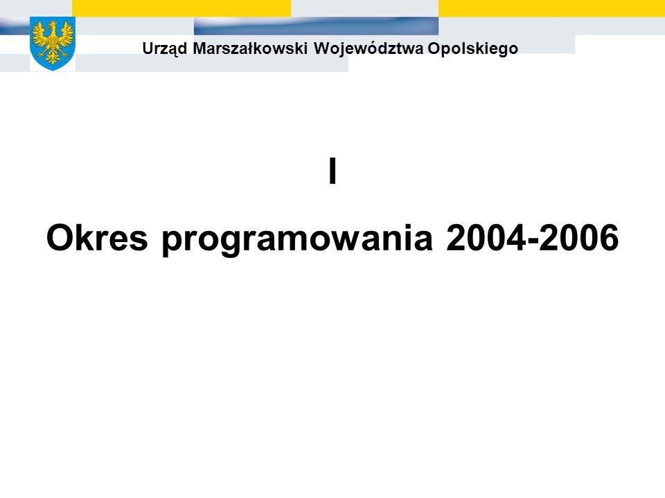 Urząd Marszałkowski Województwa Opolskiego I Okres programowania 2004-2006