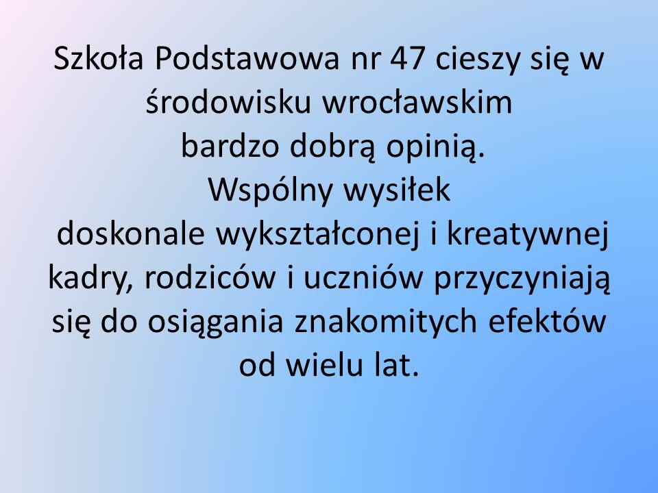 Szkoła Podstawowa nr 47 cieszy się w środowisku wrocławskim bardzo dobrą opinią. Wspólny wysiłek doskonale wykształconej i kreatywnej kadry, rodziców