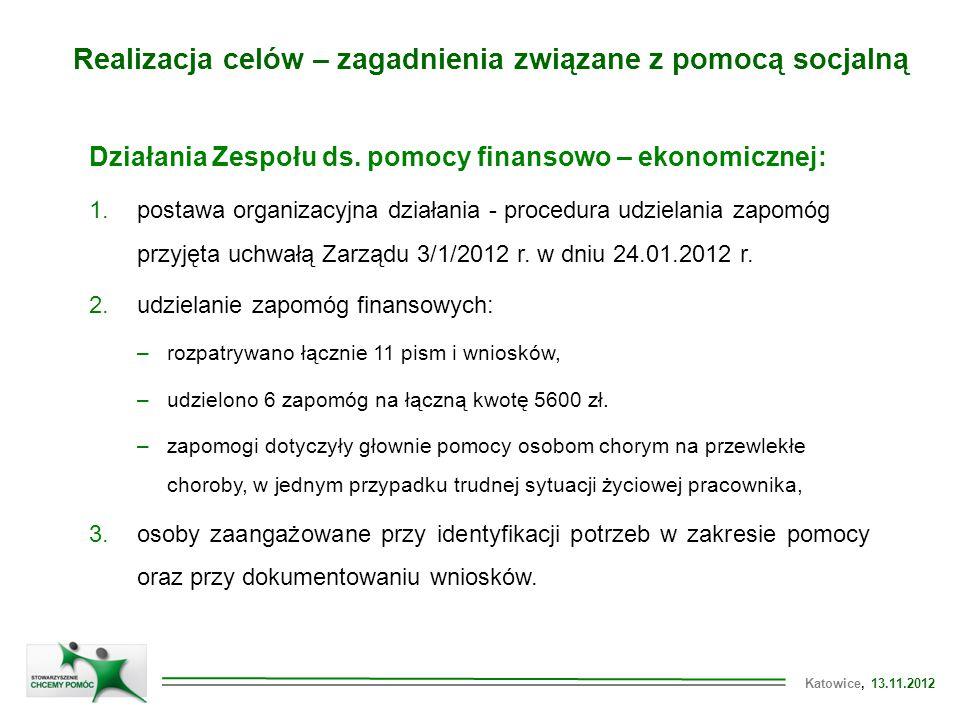Katowice, 13.11.2012 Realizacja celów – zagadnienia związane z pomocą socjalną Działania Zespołu ds.