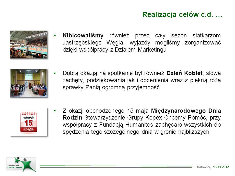 """Katowice, 13.11.2012 Rok działalności Stowarzyszenia Grupy KOPEX """"CHCEMY POMÓC Katowice, 13.11.2012 Kamil Górski Koordynator ds."""