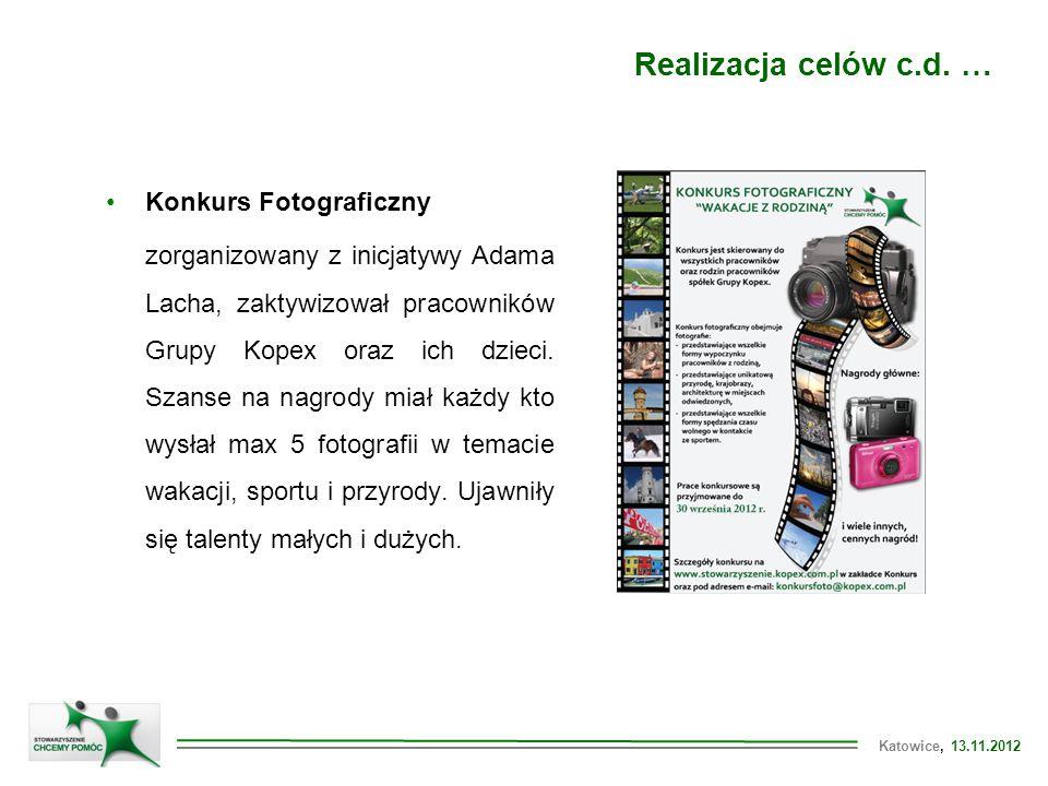 Katowice, 13.11.2012 Konkurs Fotograficzny zorganizowany z inicjatywy Adama Lacha, zaktywizował pracowników Grupy Kopex oraz ich dzieci.