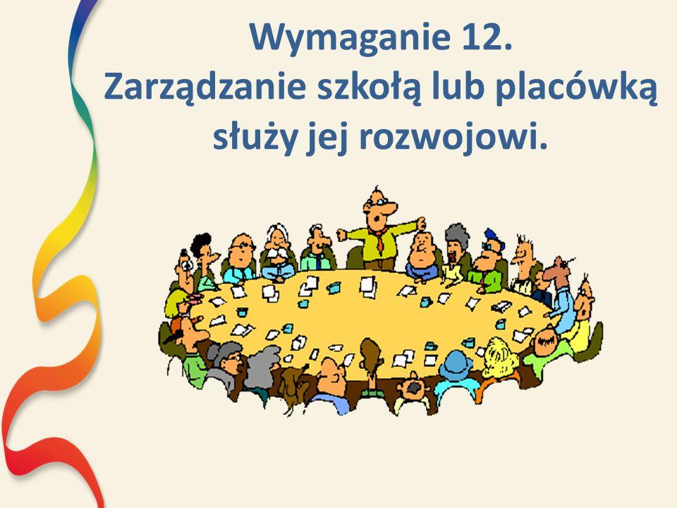 Wymaganie 12. Zarządzanie szkołą lub placówką służy jej rozwojowi.