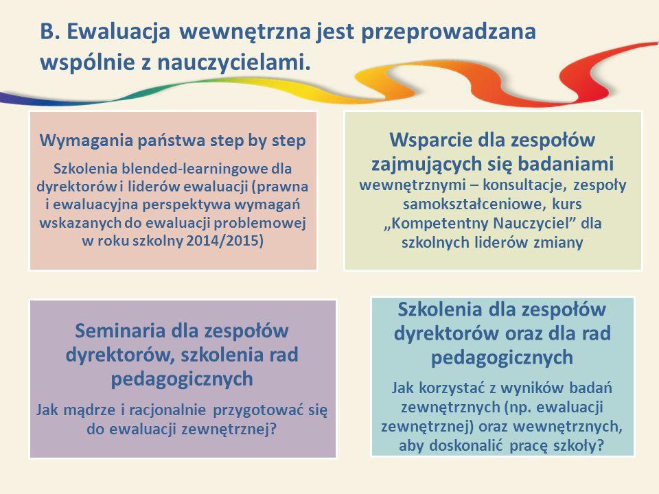 B. Ewaluacja wewnętrzna jest przeprowadzana wspólnie z nauczycielami.