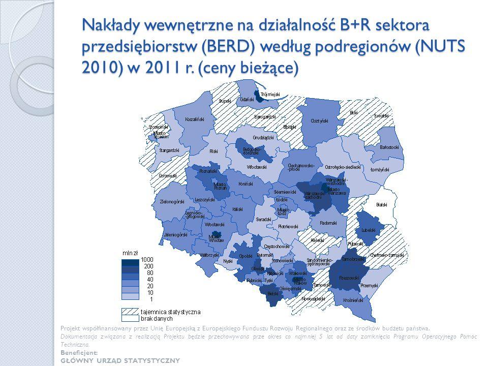 Nakłady wewnętrzne na działalność B+R sektora przedsiębiorstw (BERD) według podregionów (NUTS 2010) w 2011 r. (ceny bieżące) Projekt współfinansowany