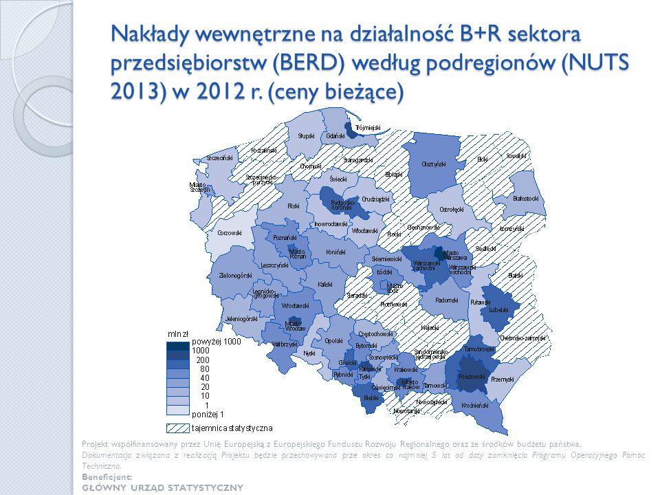 Nakłady wewnętrzne na działalność B+R sektora przedsiębiorstw (BERD) według podregionów (NUTS 2013) w 2012 r. (ceny bieżące) Projekt współfinansowany