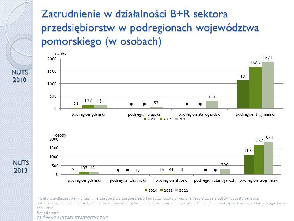 Zatrudnienie w działalności B+R sektora przedsiębiorstw w podregionach województwa pomorskiego (w osobach) NUTS 2010 NUTS 2013 Projekt współfinansowan