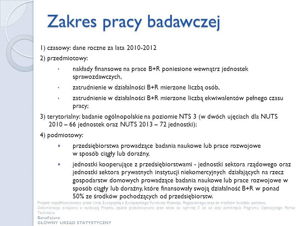 Zakres pracy badawczej 1) czasowy: dane roczne za lata 2010-2012 2) przedmiotowy: nakłady finansowe na prace B+R poniesione wewnątrz jednostek sprawoz