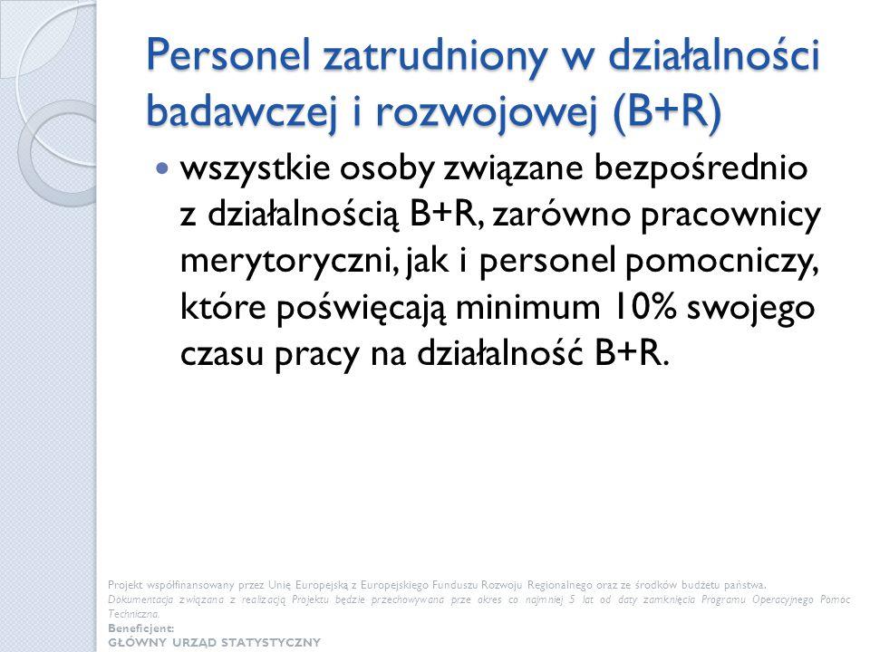 Personel zatrudniony w działalności badawczej i rozwojowej (B+R) wszystkie osoby związane bezpośrednio z działalnością B+R, zarówno pracownicy merytor