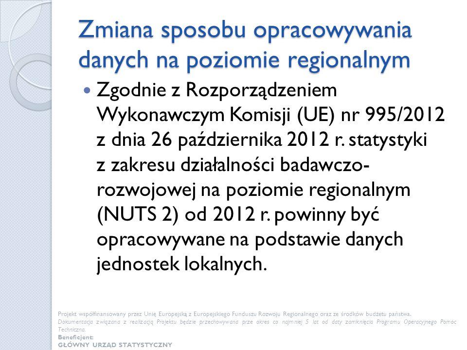 Zmiana sposobu opracowywania danych na poziomie regionalnym Zgodnie z Rozporządzeniem Wykonawczym Komisji (UE) nr 995/2012 z dnia 26 października 2012