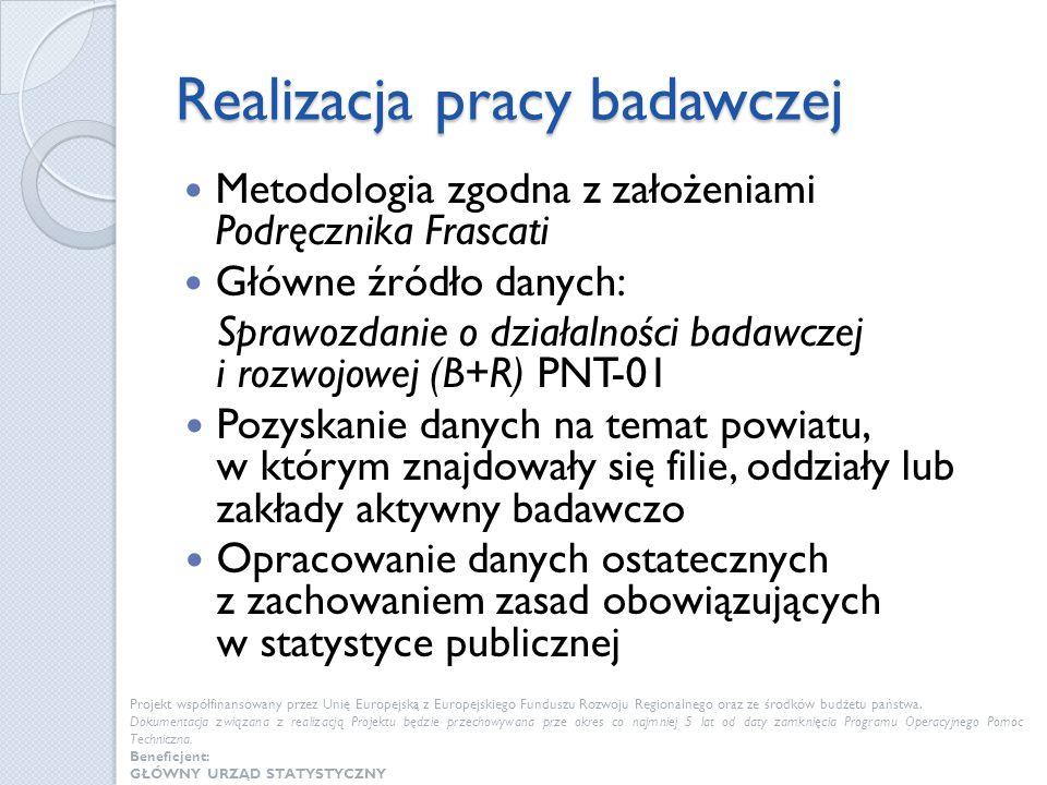 Realizacja pracy badawczej Metodologia zgodna z założeniami Podręcznika Frascati Główne źródło danych: Sprawozdanie o działalności badawczej i rozwojo