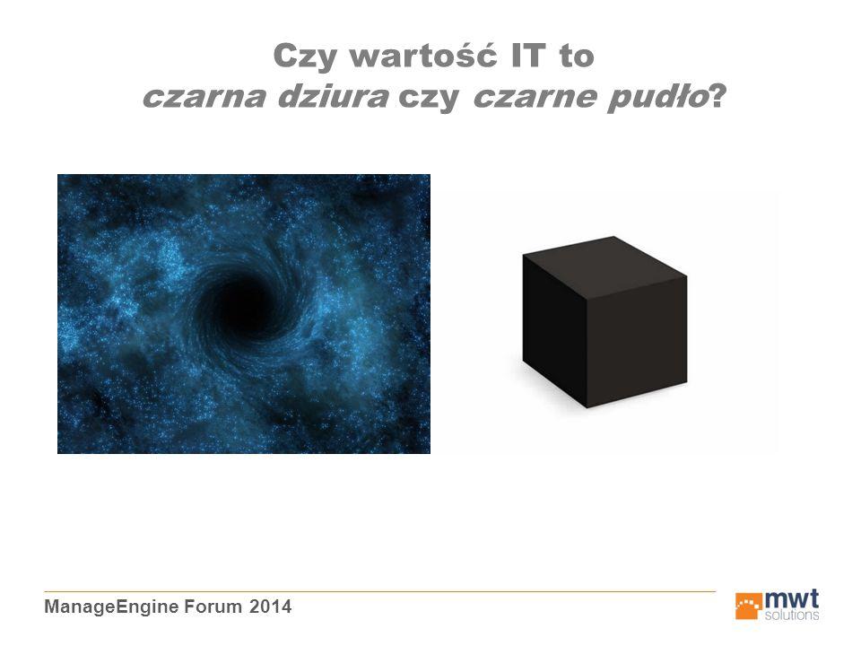 ManageEngine Forum 2014 Czy wartość IT to czarna dziura czy czarne pudło?