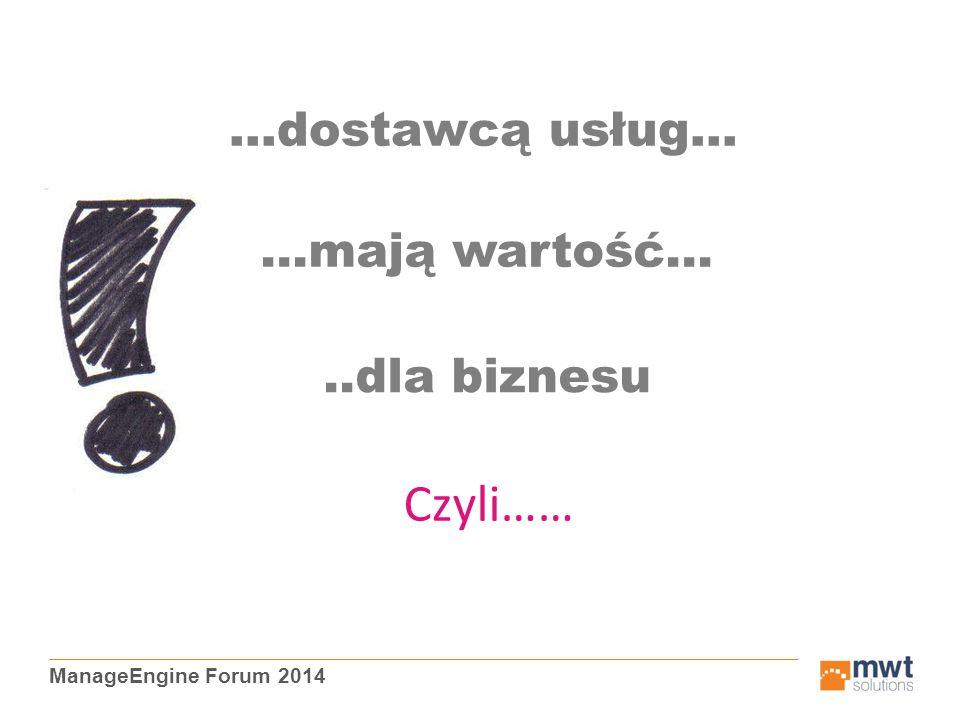 ManageEngine Forum 2014 …dostawcą usług… …mają wartość…..dla biznesu Czyli……