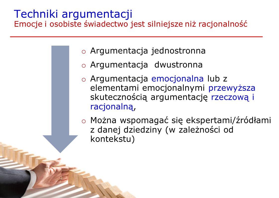 Techniki argumentacji Emocje i osobiste świadectwo jest silniejsze niż racjonalność o Argumentacja jednostronna o Argumentacja dwustronna o Argumentac