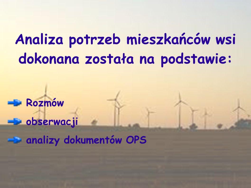 Analiza potrzeb mieszkańców wsi dokonana została na podstawie: Rozmów obserwacji analizy dokumentów OPS