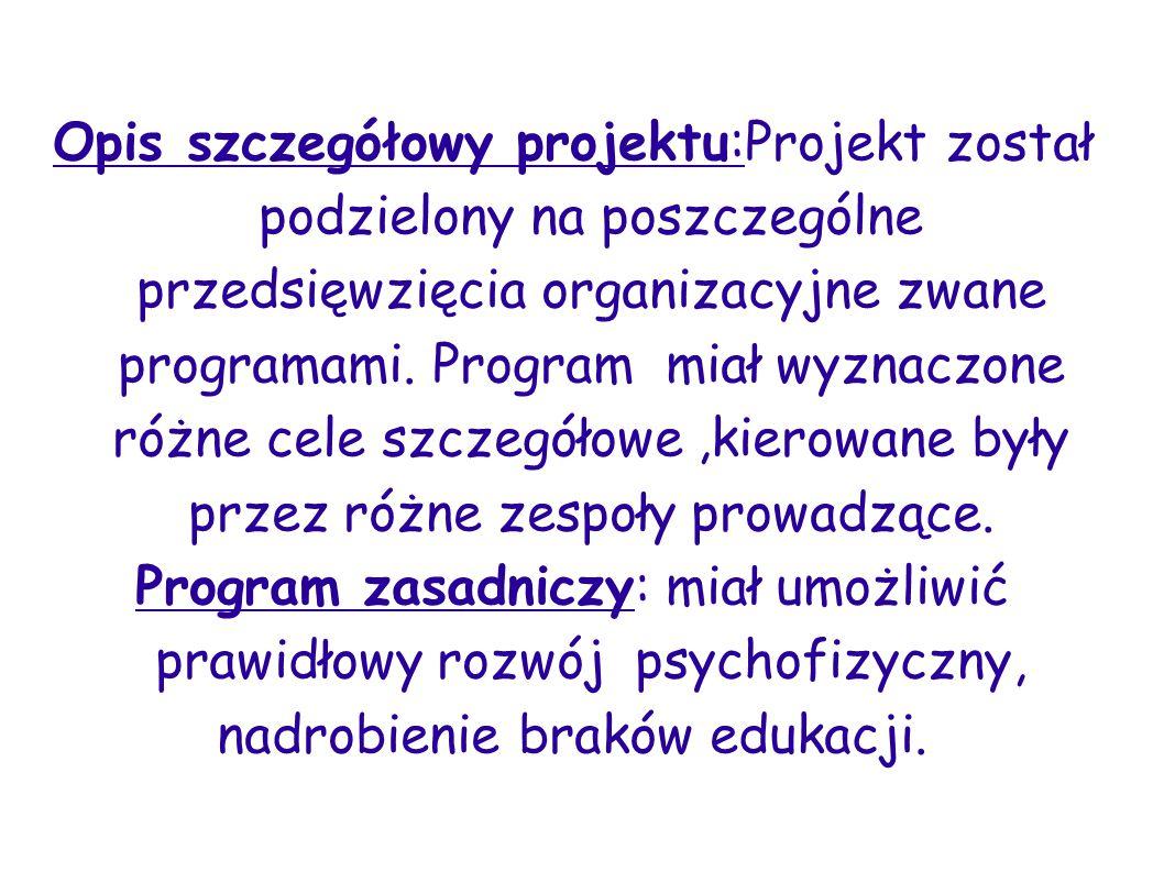 Opis szczegółowy projektu:Projekt został podzielony na poszczególne przedsięwzięcia organizacyjne zwane programami. Program miał wyznaczone różne cele