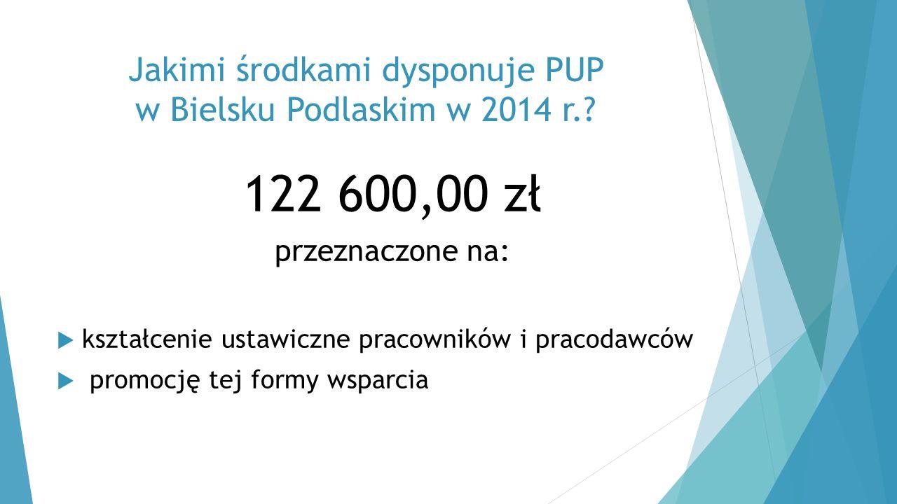 Jakimi środkami dysponuje PUP w Bielsku Podlaskim w 2014 r.? 122 600,00 zł przeznaczone na:  kształcenie ustawiczne pracowników i pracodawców  promo