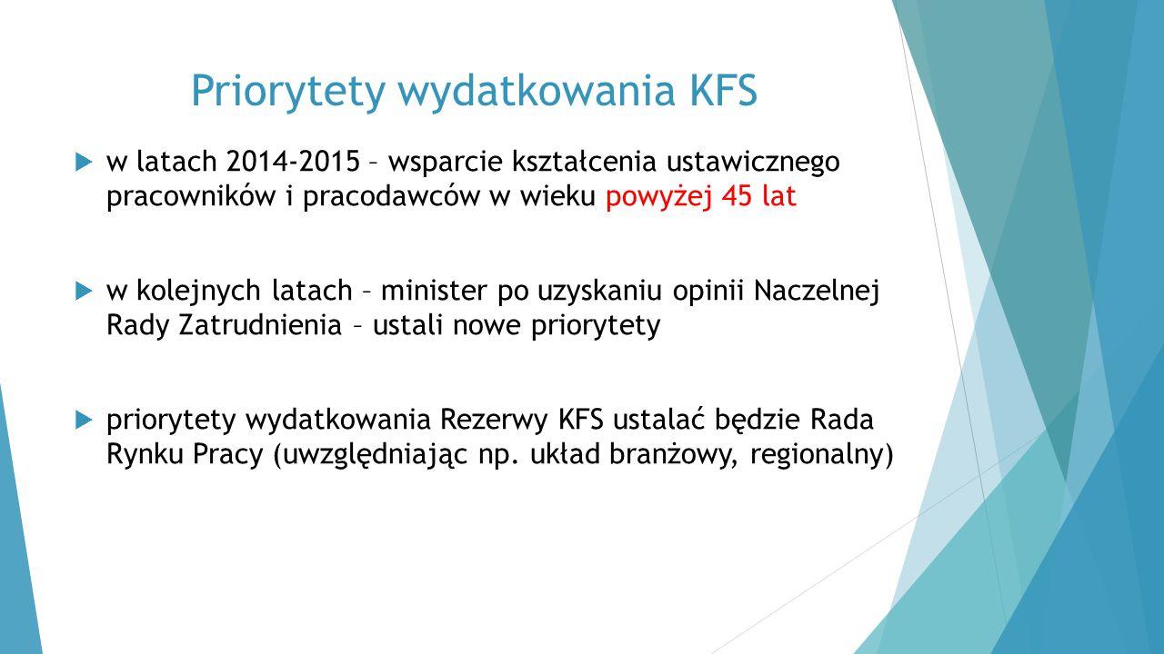 Priorytety wydatkowania KFS  w latach 2014-2015 – wsparcie kształcenia ustawicznego pracowników i pracodawców w wieku powyżej 45 lat  w kolejnych la