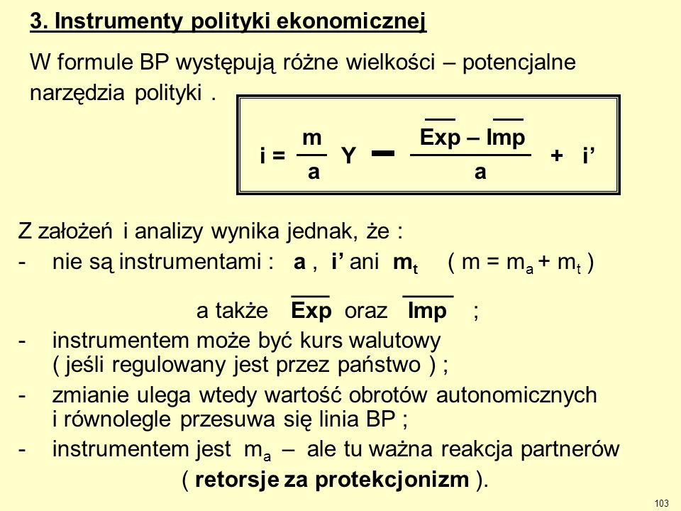 103 Z założeń i analizy wynika jednak, że : -nie są instrumentami : a, i' ani m t ( m = m a + m t ) ___ ____ a takżeExp oraz Imp ; -instrumentem może