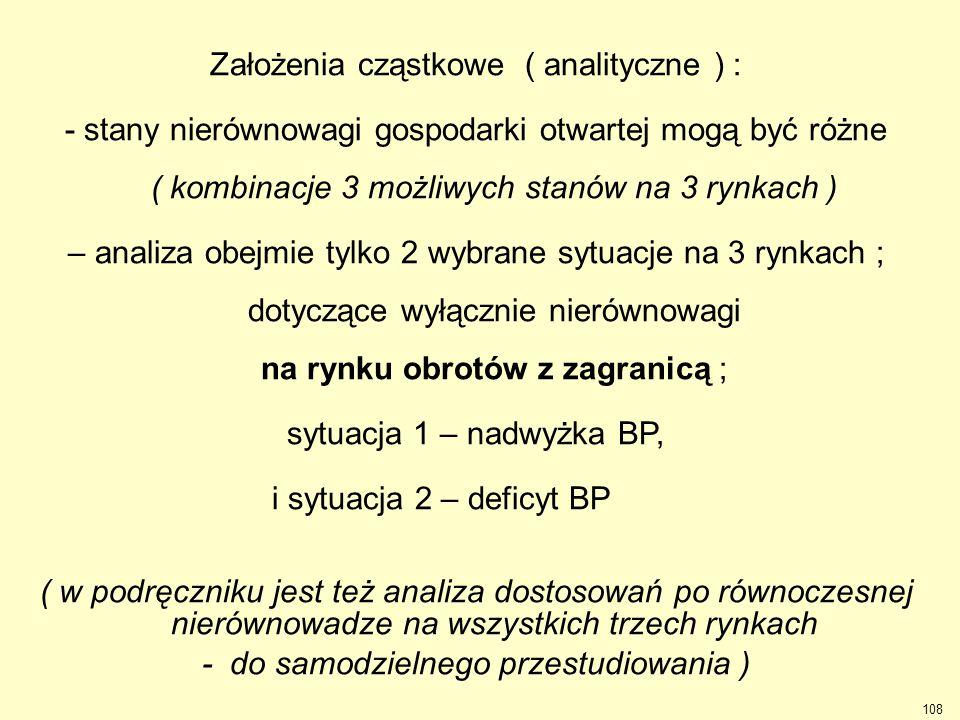 Założenia cząstkowe ( analityczne ) : - stany nierównowagi gospodarki otwartej mogą być różne ( kombinacje 3 możliwych stanów na 3 rynkach ) – analiza