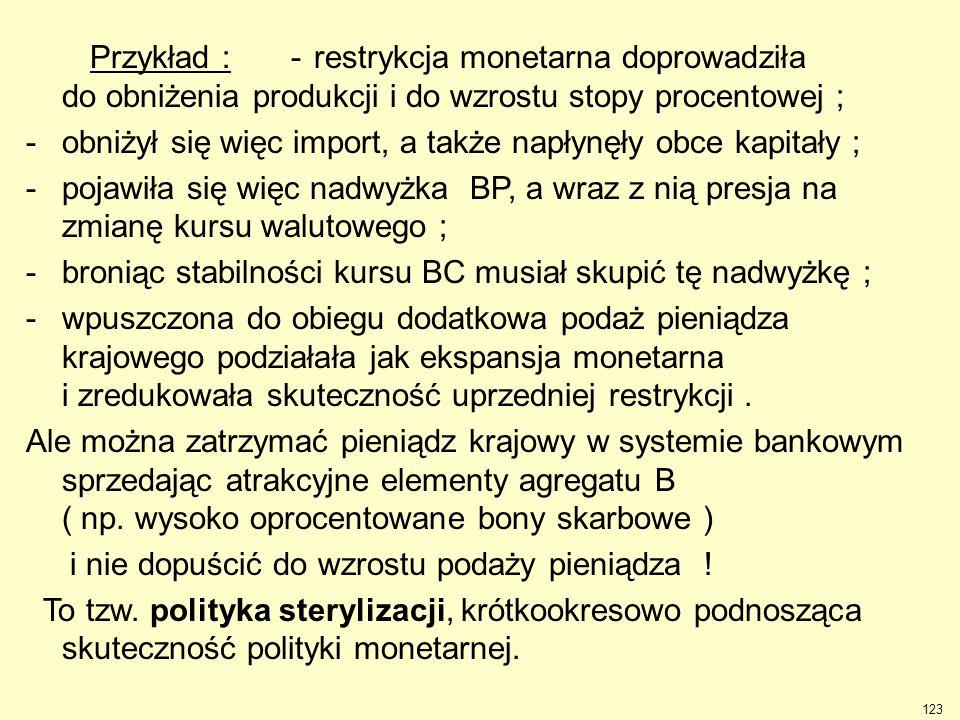 123 -restrykcja monetarna doprowadziła do obniżenia produkcji i do wzrostu stopy procentowej ; -obniżył się więc import, a także napłynęły obce kapita