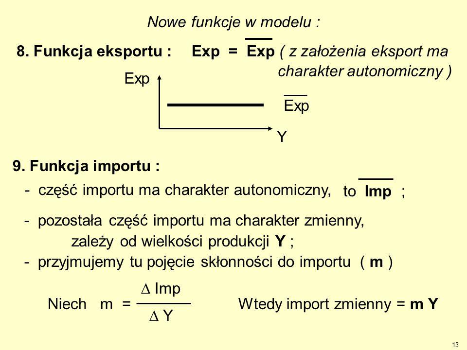 13 Nowe funkcje w modelu : 8. Funkcja eksportu : Exp Y Exp = Exp ( z założenia eksport ma charakter autonomiczny ) - pozostała część importu ma charak