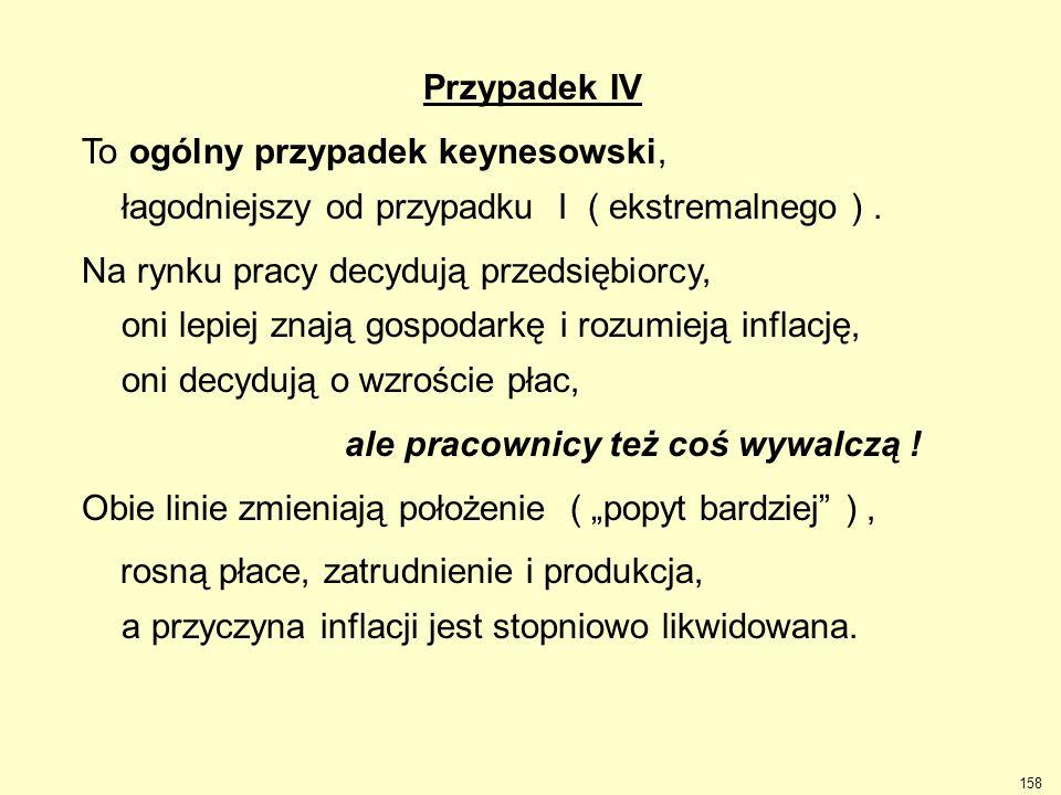 158 Przypadek IV To ogólny przypadek keynesowski, łagodniejszy od przypadku I ( ekstremalnego ). Na rynku pracy decydują przedsiębiorcy, oni lepiej zn