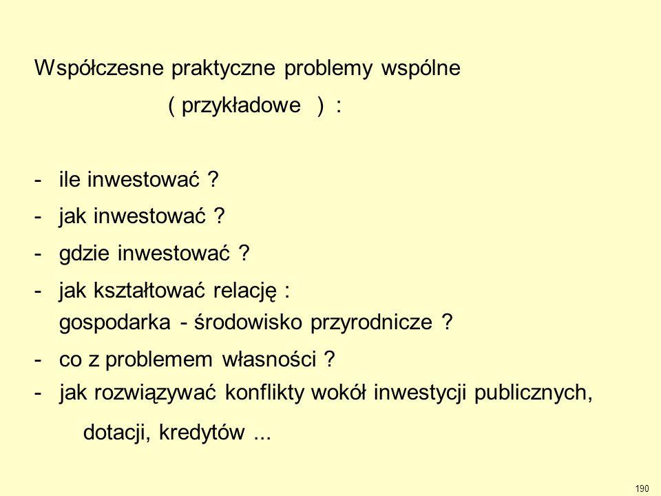 190 Współczesne praktyczne problemy wspólne ( przykładowe ) : -ile inwestować ? -jak inwestować ? -gdzie inwestować ? -jak kształtować relację : gospo