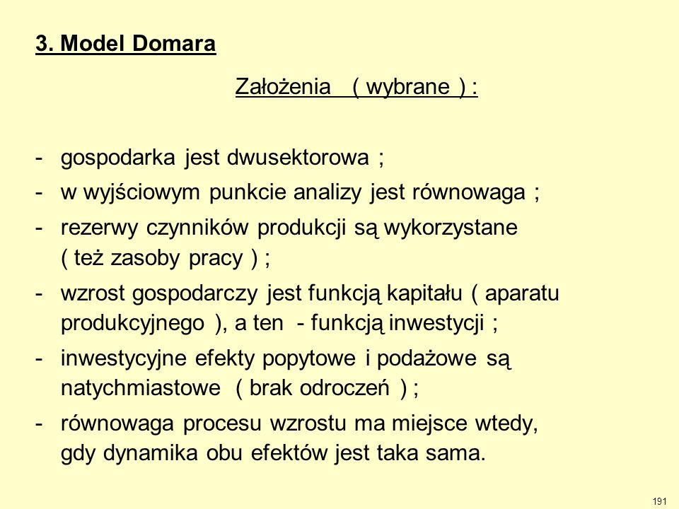 191 3. Model Domara Założenia ( wybrane ) : -gospodarka jest dwusektorowa ; -w wyjściowym punkcie analizy jest równowaga ; -rezerwy czynników produkcj
