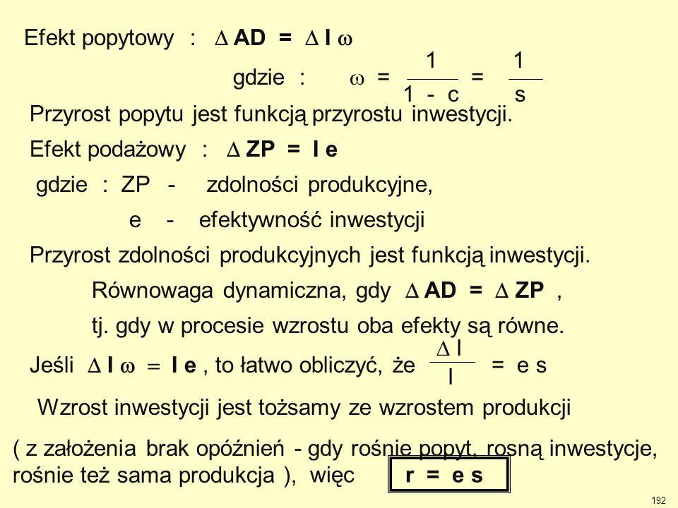 Efekt popytowy :  AD =  I  gdzie :  = = 1 - c s 1 Przyrost popytu jest funkcją przyrostu inwestycji. Efekt podażowy :  ZP = I e gdzie : ZP - zd