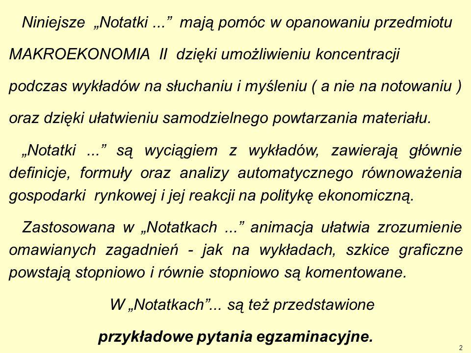 """2 Niniejsze """"Notatki..."""" mają pomóc w opanowaniu przedmiotu MAKROEKONOMIA II dzięki umożliwieniu koncentracji podczas wykładów na słuchaniu i myśleniu"""