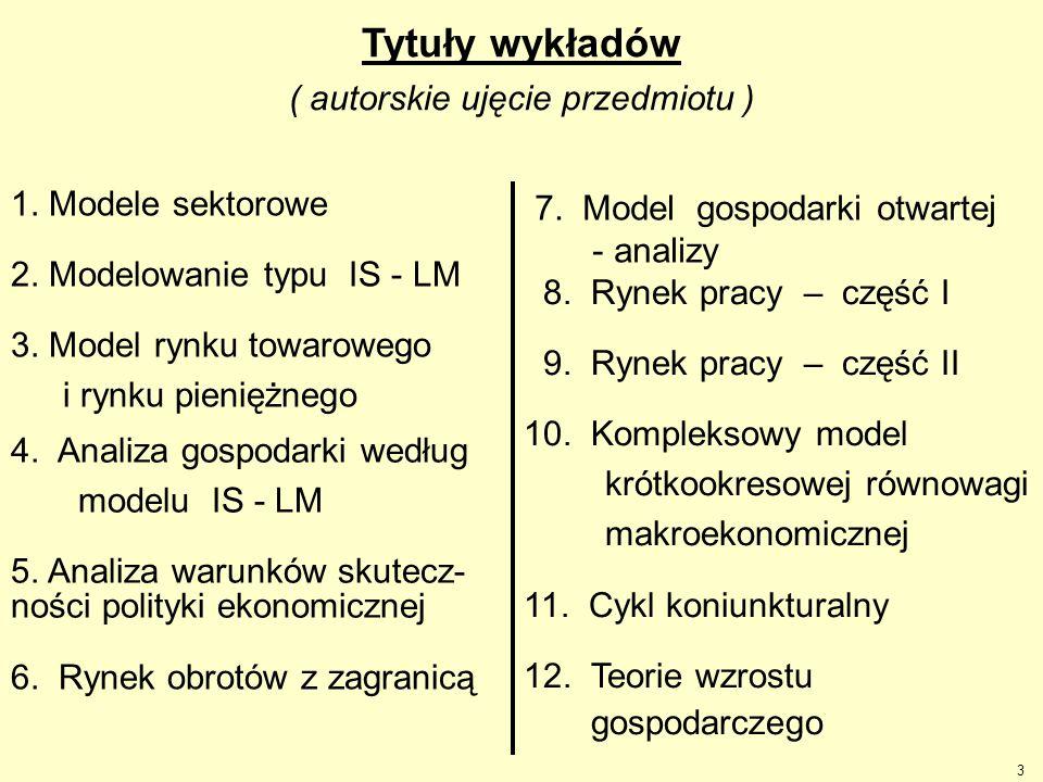 3 Tytuły wykładów ( autorskie ujęcie przedmiotu ) 1. Modele sektorowe 2. Modelowanie typu IS - LM 3. Model rynku towarowego i rynku pieniężnego 4. Ana
