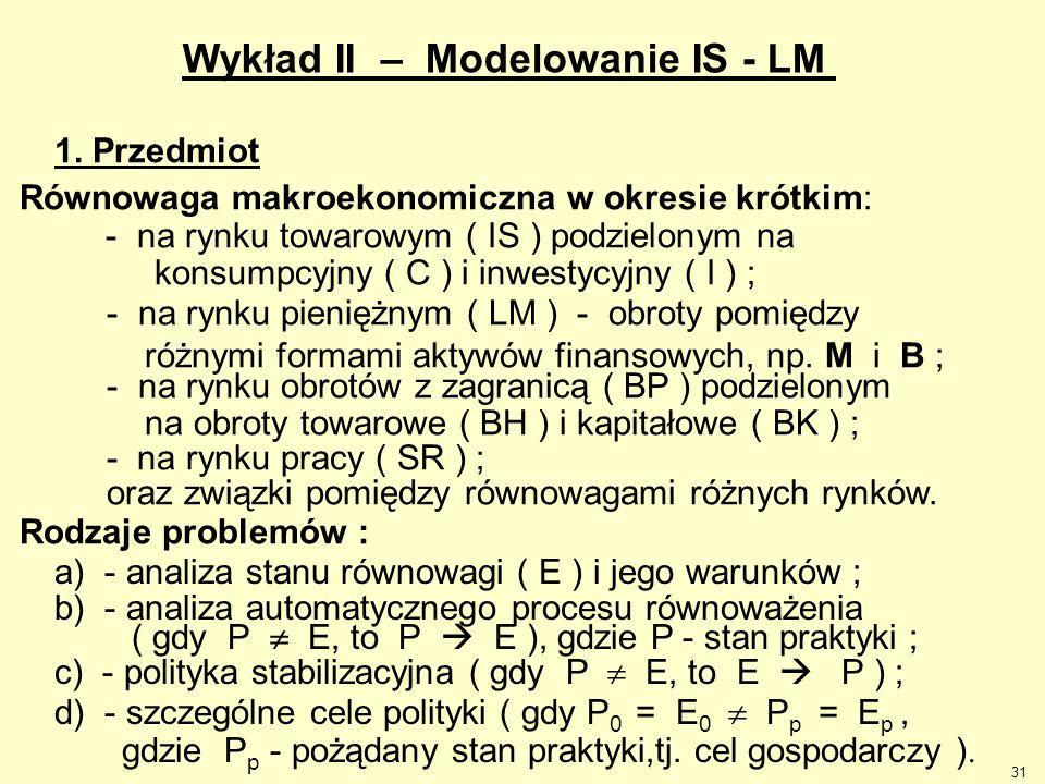 31 Wykład II – Modelowanie IS - LM 1. Przedmiot Równowaga makroekonomiczna w okresie krótkim: - na rynku towarowym ( IS ) podzielonym na konsumpcyjny