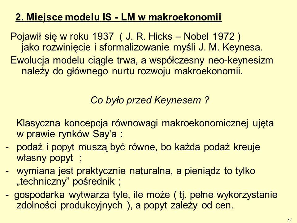 32 2. Miejsce modelu IS - LM w makroekonomii Pojawił się w roku 1937 ( J. R. Hicks – Nobel 1972 ) jako rozwinięcie i sformalizowanie myśli J. M. Keyne