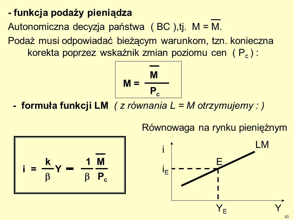 49 - funkcja podaży pieniądza Autonomiczna decyzja państwa ( BC ),tj. M = M. Podaż musi odpowiadać bieżącym warunkom, tzn. konieczna korekta poprzez w